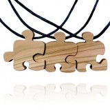 Three Piece Wooden Puzzle Friendship Necklaces