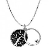 Sterling Silver Two-Sided Tree Pendant and Charm